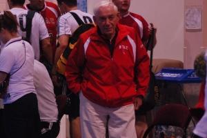 Laszlo Jurak, long time coach of NYAC, on the sidelines at the U.S. National Championships. (Photo courtesy of Clarke Ortega)