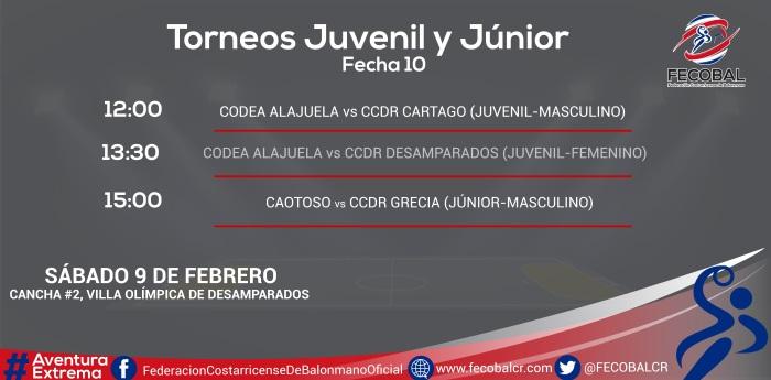 CALENDARIO JORNADA JUVENIL Y JÚNIOR