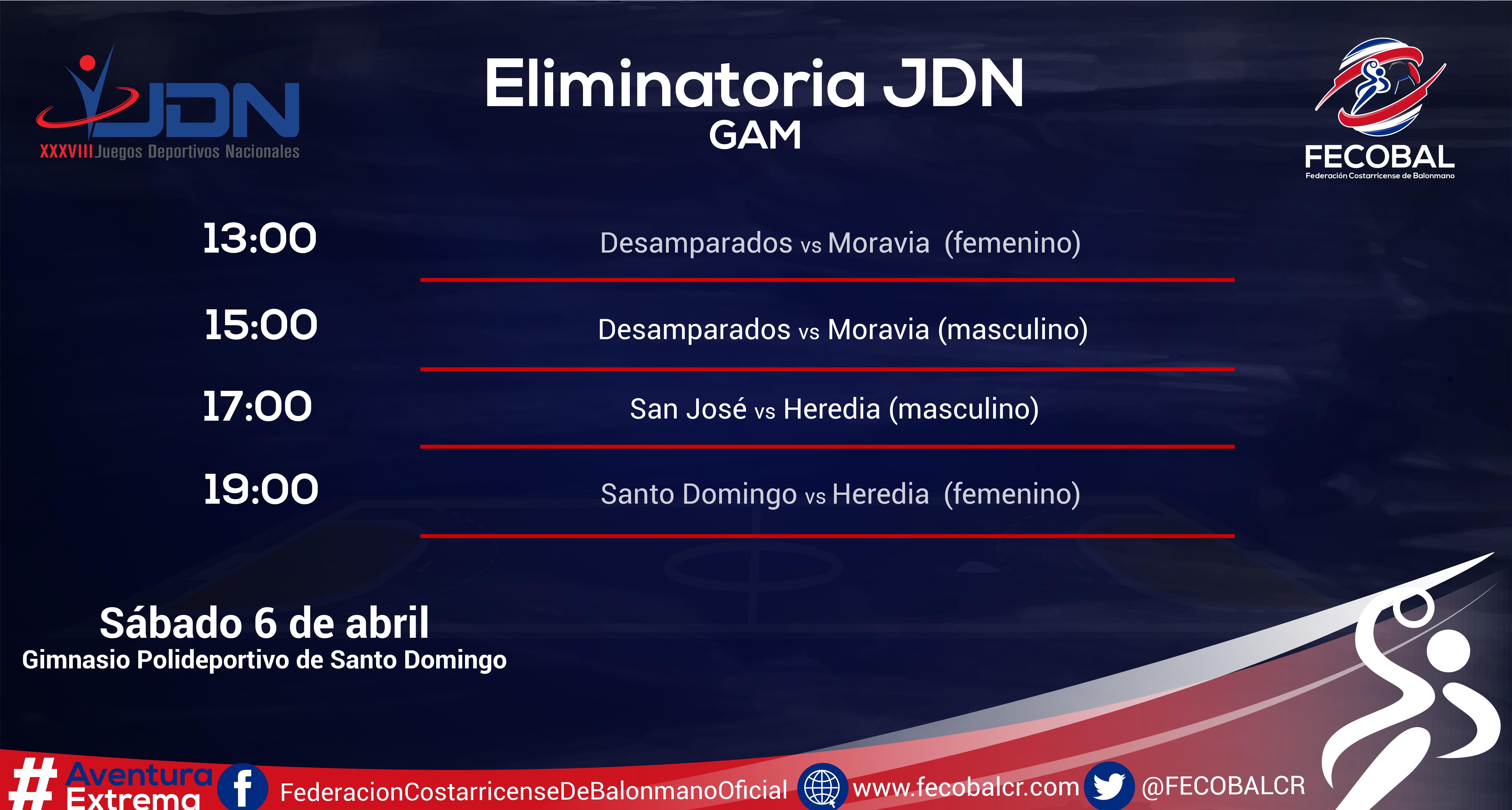 CALENDARIO ELIMINATORIA GAM-01
